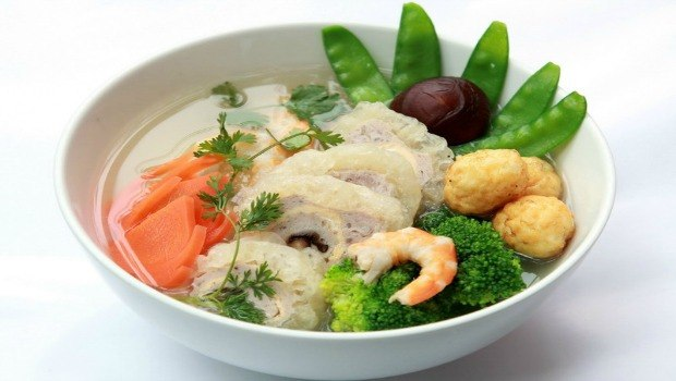 mixed dried pig's skin soup
