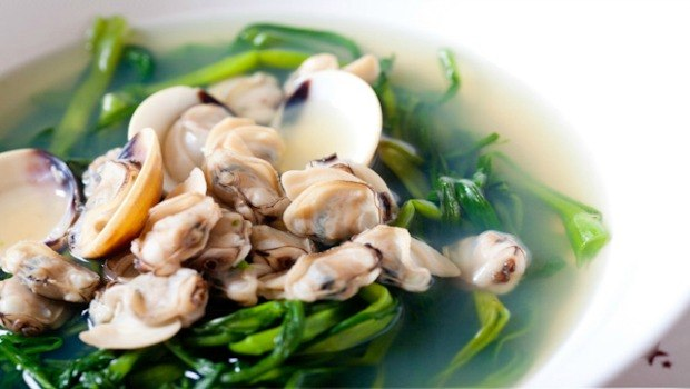 mussel water spinach soup
