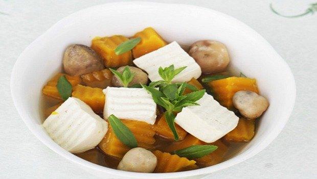 pumpkin egg tofu soup