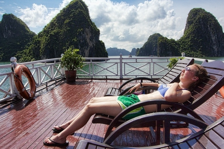 things to do in halong bay - sunbathe in halong bay