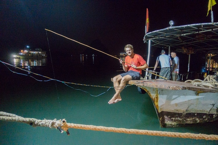 things to do in halong bay - night squid fishing