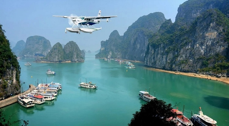 things to do in halong bay - view halong bay from helicopter
