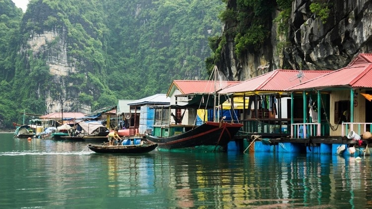 things to do in halong bay - visit floating villages