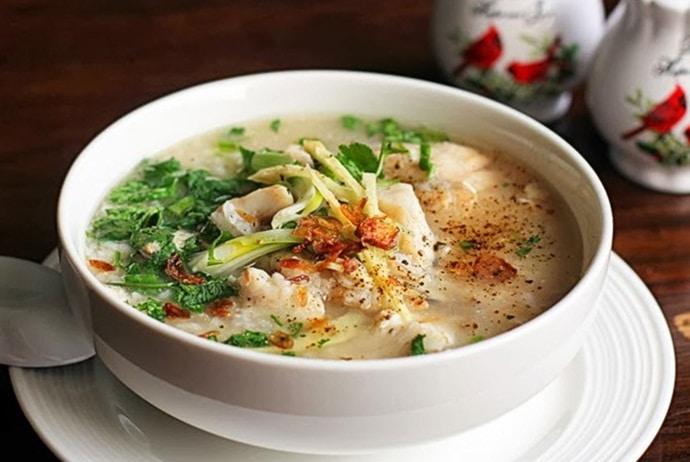 some versions of vietnamese fish porridge - porridge with red tilapia of the north