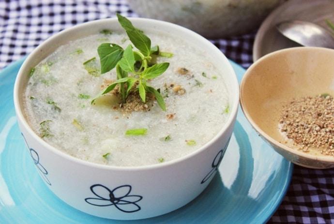 some versions of vietnamese fish porridge - porridge with snakehead and knotgrass of the southwest