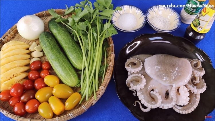 vietnamese sweet and sour octopus stir-fry recipe