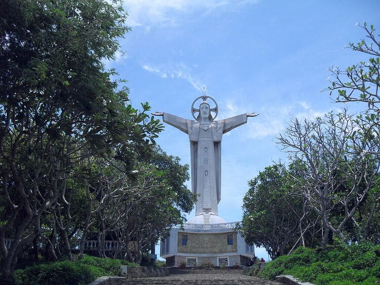 The Giant Jesus Christ's Statue Standing on Nho Mount in Vung Tau