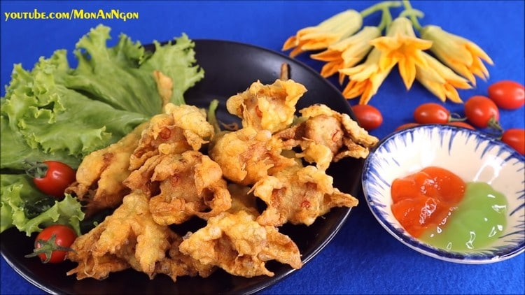 delicious crispy fried fish cake stuffed pumpkin flowers recipe